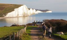 Seven Sisters cliffs and coastline viewed from Seaford Head on the South Downs Way. Photograph: Alamy