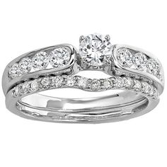 Elora 14k White Gold 1ct TDW Round Diamond Bridal Ring Set