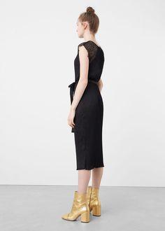 Lace pleated dress   MANGO