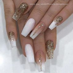 # Get inspired! on White, French Fade and Gold Glitter on Coffin Nails Nail Artist: her for more gorgeous nail art designs! Nail Design Gold, White Nail Designs, Nail Art Designs, Fancy Nails Designs, New Years Nail Designs, Latest Nail Designs, Latest Nail Art, Matte White Nails, White Nail Art