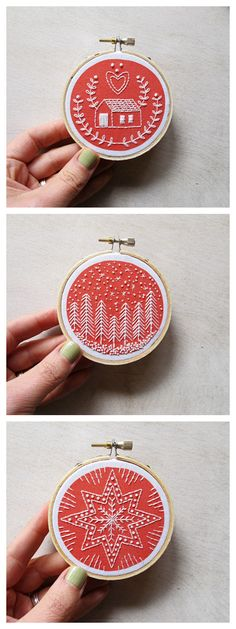 Link doesn't work cozyblue handmade :: DIY embroidery kits, holiday ornaments kit Diy Embroidery Kit, Christmas Embroidery, Hand Embroidery Patterns, Cross Stitch Embroidery, Embroidery Letters, Embroidered Christmas Ornaments, Embroidery Thread, Simple Embroidery, Xmas Cross Stitch