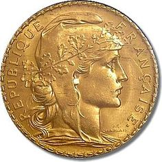 gold+numismatics   1907 French Rooster 20 Franc Gold Coin Obverse