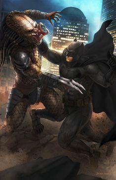 "redskullsmadhouse: "" Batman vs Predator by denni andria "" Batman Vs, Spiderman, Batman Fight, Gotham Batman, Batman Comic Wallpaper, Batman Artwork, King Kong, Marvel Dc, Marvel Comics"