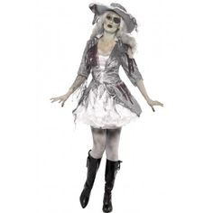 Ghost Pirate Costume - Halloween Fancy Dress and Party