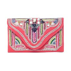 Nila Anthony Beaded Clutch in Coral and Multi Pop