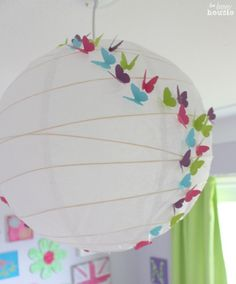 DIY Butterfly Lantern Light Fixture at The Happy Housie little girl's room