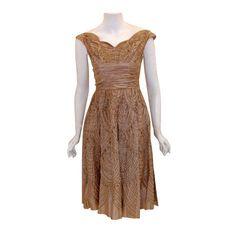 Ceil Chapman - Ceil Chapman Beige Silk Ribbon Cocktail Dress, Circa 1960
