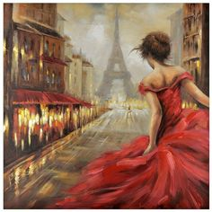 Pursuit of Romance Canvas Art (260 CAD) ❤ liked on Polyvore featuring home, home decor, wall art, backgrounds, wall street art, eiffel tower wall art, canvas painting, canvas wall paintings and cityscape painting
