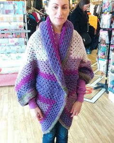 A coccoon cardigan I crocheted modelled by one of my clients.#crochet