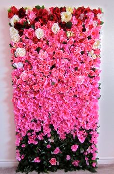 3ft x 6ft Finished Ombre Rose Flower Wall for Wedding, Photo shoot Backdrop made…