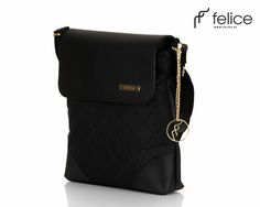 Quilted black messenger bag Felice Aurora A01