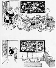 """Picasso's """"Guernica"""" before & after the tidying up. [ by Argentinian cartoonist Quino ] Caricatures, Rock Kunst, Painting & Drawing, Picasso Guernica, Pablo Picasso, Spanish Humor, Ap Spanish, Bd Comics, Mafalda Quino"""