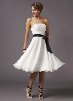 Evening Dresses - $84.88 - A-Line/Princess Strapless Knee-Length Chiffon Evening Dress With Ruffle Sash (0175057425)