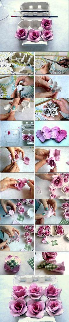 Egg Carton Craft - Beautiful Roses | iCreativeIdeas.com LIKE Us on Facebook ==> https://www.facebook.com/icreativeideas