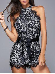 Fashionable Women's Round Neck Sleeveless Laced Belted Romper (BLACK,M)   Sammydress.com Mobile