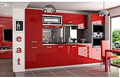 JUSThome Syntka Pro Cuisine équipée complète 300 cm Couleur: Rouge laqué haute brillance