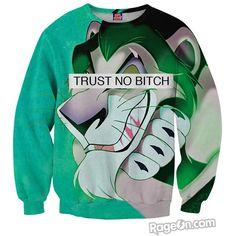Trust No Bitch Scar Sweatshirt ($60) ❤ liked on Polyvore featuring tops, hoodies, sweatshirts, shirts, sweaters, sweat shirts, green top, green shirt, green sweatshirt and sweatshirt shirts