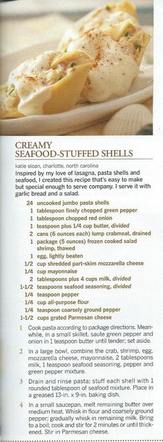 Creamy Seafood Stuffed Shells - love stuffed shells but never tried it with crab, gotta try this one for sure!