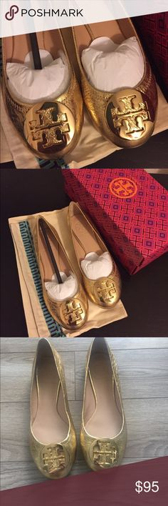 Tory Burch | Gold Flats NWOT Only worn inside my apartment! Bought them on Poshmark, but unfortunately didn't fit. Does NOT come with the dust bag or box. Tory Burch Shoes Flats & Loafers