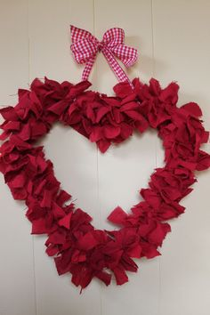 Easy heart shaped rag wreath for Valentine's-done in under an hour.