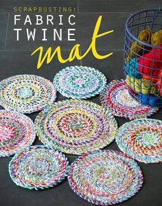 Turn that big pile of fabric scraps into handmade scrap fabric twine. A strong recycled fabric rope that can be used for all sorts of craft projects. Scrap Fabric Projects, Easy Sewing Projects, Sewing Projects For Beginners, Fabric Scraps, Sewing Hacks, Sewing Crafts, Sewing Ideas, Fabric Bowls, Fabric Yarn