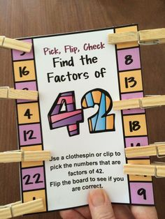 Factors Pick, Flip and Check cards by Games 4 Learning - The fun way to review factors. These factors cards are self correcting cards. $