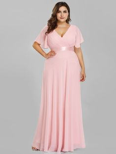 Plus Size Evening Dresses Ever Pretty V neck Nay Blue Elegant A line Chiffon Long Party Gowns 2019 Short Sleeve Occasion Dresses Plus Size Long Dresses, Evening Dresses Plus Size, Long Summer Dresses, Evening Gowns, Evening Party, Dress Summer, Long Party Gowns, Long Gowns, Prom Party