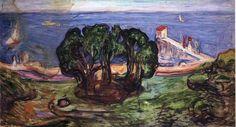 Trees on the Shore via Edvard Munch Size: 93x167 cm Medium: oil on canvas