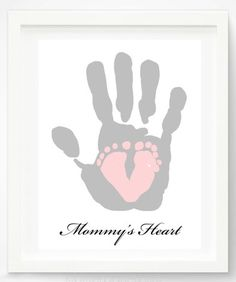 "Valentine's Day Gifts for Mom, Dad, & the Grandparents:  ""Mommy's Heart"" Personalized Hand and Foot Print Artwork Print by Pitter Patter Pri..."