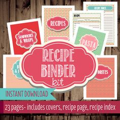 Recipe Binder Printables-Recipe Organizer-Printable Recipe Binder-Cookbook-23 Pages-Instant Download