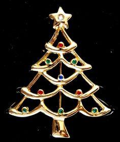 Colorful Vintage Rhinestone Christmas Tree Holiday Brooch Pin Signed AAi #AAi