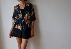Womens cropped kimono jacket black floral silky. by MuguetMilan, $110.00