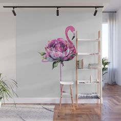Buy Flower Flamingo Wall Mural by Worldwide shipping available at Societ. - Wohnen und mehr - Pictures on Wall ideas Flower Mural, Flower Art, Art Decor, Decoration, Home Decor, Decor Ideas, Mural Art, Floral Wall, Diy Wall Art