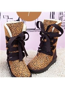 Sweet Warm Multi-Color Ribbon Lace-Up Snow Boots
