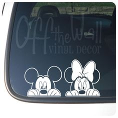 "Mickey & Minnie Mouse Disney ""Peeking"" Vinyl Car Decal. $7.89, via Etsy."
