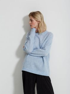MOHAIR MIX - STRIKKET PULLOVER, Xenon Blue, large