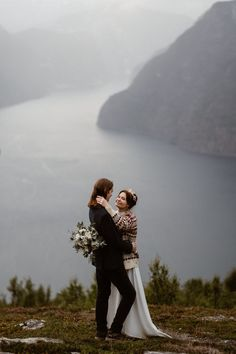 From the mountain views to the nontraditional fashion—this Norway elopement with have adventurous couples swooning. | image by Ingvild Kolnes Wedding Locations, Wedding Venues, Elopement Inspiration, Old World Charm, Sweet Couple, Honeymoon Destinations, Wedding Blog, Getting Married, Norway