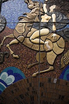 Queen Boudicca mosaic and bas-relief, Dublin Celtic Mythology, Celtic Goddess, Iceni Tribe, Roman Names, Fantasy Paintings, Irish Celtic, Unusual Art, Dark Ages, Gods And Goddesses