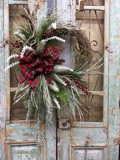 Need to 'futz' up the French doors I got from Nancy's old house. Christmas Door Decorations, Christmas Mantels, Holiday Wreaths, Rustic Christmas, Christmas Crafts, Holiday Decor, Winter Wreaths, Red Christmas, Christmas Pictures