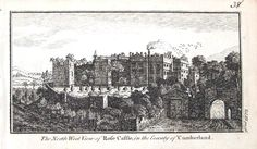A fine highly detailed little copper engraved antique print entitled THE NORTH WEST VIEW OF ROSE CASTLE IN THE COUNTY OF CUMBERLAND DALSTON NEAR