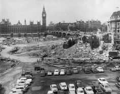 The blitzed site of St Thomas' Hospital in London is cleared to make way for a new hospital building, just across the River Thames from Big Ben and the Houses of Parliament. Get premium, high resolution news photos at Getty Images London Pictures, London Photos, Old Pictures, Vintage London, Old London, London Photography, Street Photography, Old Hospital, The Blitz