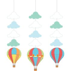 Bulk Hot Air Balloon Hanging Cutouts 18 ct - Napkins.com - Hot Air Balloon Baby Shower