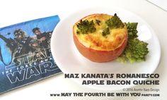 Maz Kanata's Romanesco Apple Bacon Quiche Star Wars Themed Food, Star Wars Party Food, Star Wars Food, Maz Kanata, Bacon Quiche, Star Wars Birthday, Food Themes, Starwars, Apple