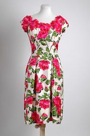 1950's Floral Silk Cocktail Dress with Appliques - Adore this neckline!