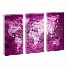 Weltkarte Lila- Kunstdruck auf Leinwand - dreiteilig -je 40cm*80cm