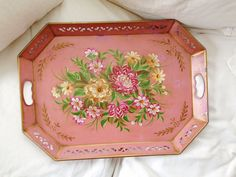 Vintage pink hand painted tole tray