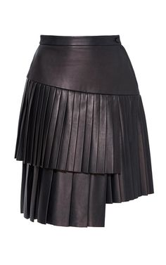 This **Adam Lippes** skirt features a leather construction with a tiered mini length hem.