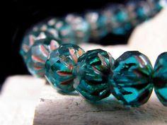 25 Czech Crullers Glass Beads~Teal Picasso ~9/6mm ~Bohemian Beads #Czech