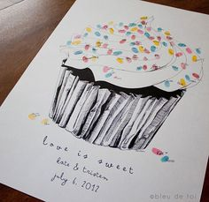 Cupcake fingerprint guestbook. In love!
