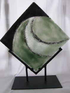 Fused glass art sculpture